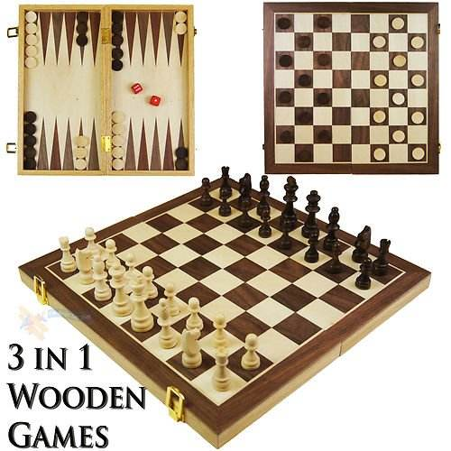 Wooden Folding 3 in 1 Game Contemporary Chess Set Board Game Checkers Backgammon New