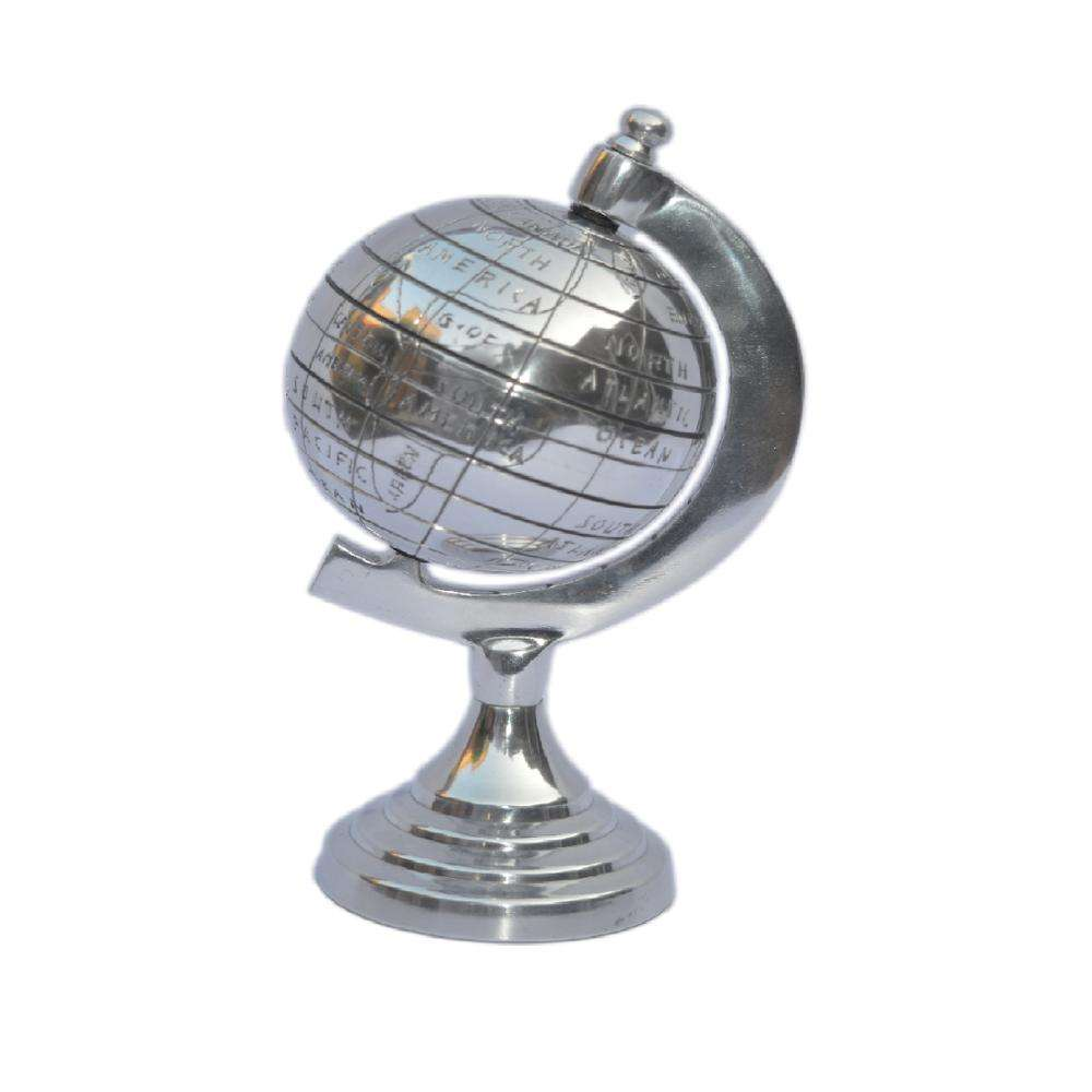 Sliver Shiny World Globe Map With Stand