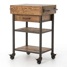 Industrial Reclaimed Wood Kitchen Island Cart Trolley with Drawer, Bar Trolley Cart