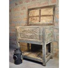 Carved Antique Wooden Small Living Room Console Table Cum Box / Small Trunk Box