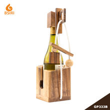 The Wooden Wine Bottle for Adults to Challenge Brain Teaser Before Drinks