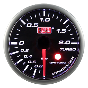 60mm Black face white LED turbo boost gauge
