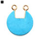 Turquoise gold plated bail earring connector bracelet charm semi round gem stone necklace pendant