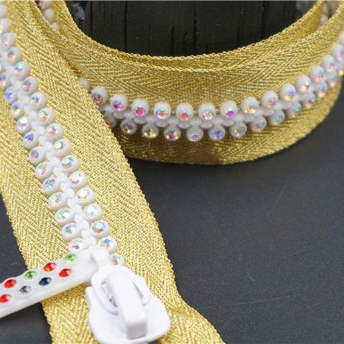 Özel renkli açık uçlu rhinestones dekoratif elmas fermuar