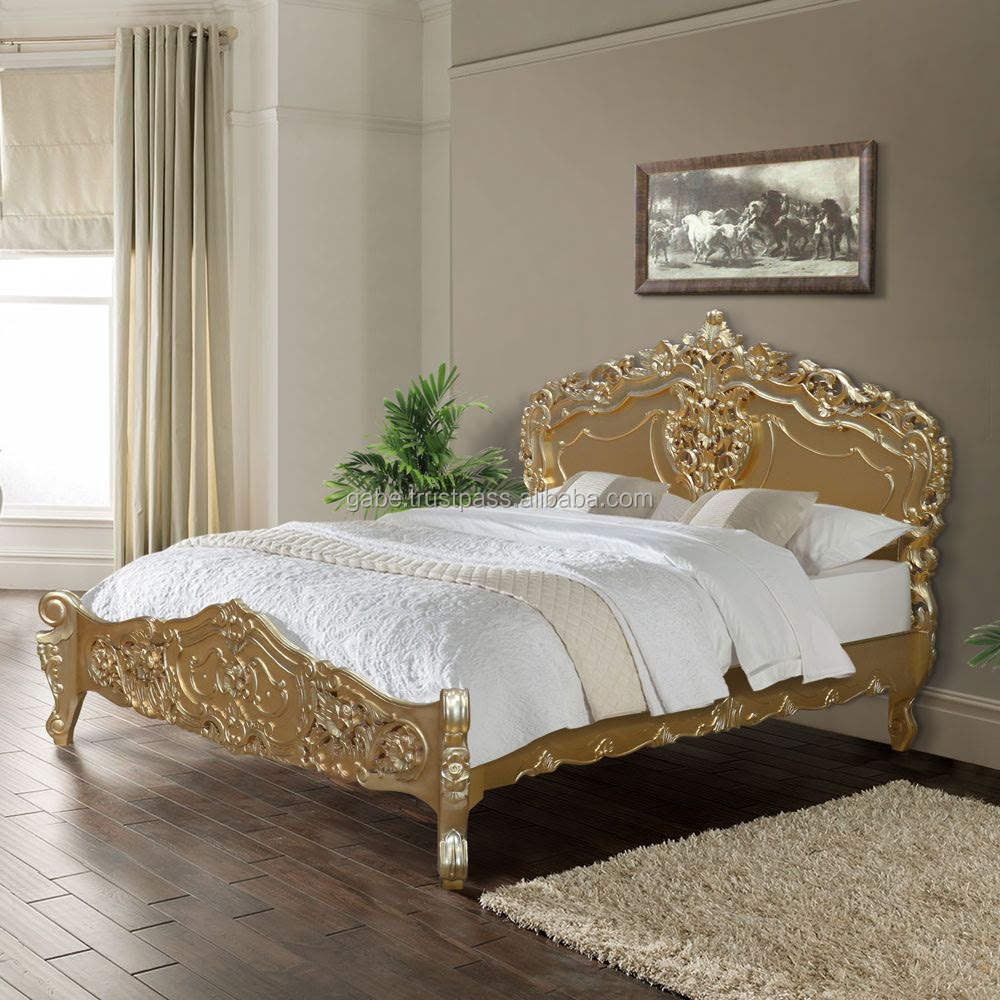 Bed Rococo , hand carving Made from solid Mahogany wood Gold color