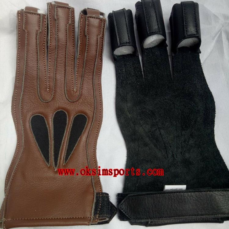 TRADITIONAL ARCHERY SHOOTING LEATHER GLOVE TOP QUALITY GLOVE 100/% REAL LEATHER