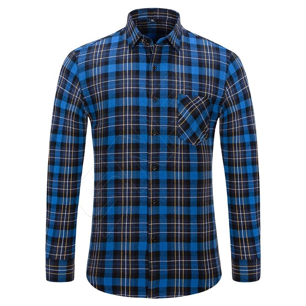 Best Quality men flannel cotton plaid street biker causal shirts