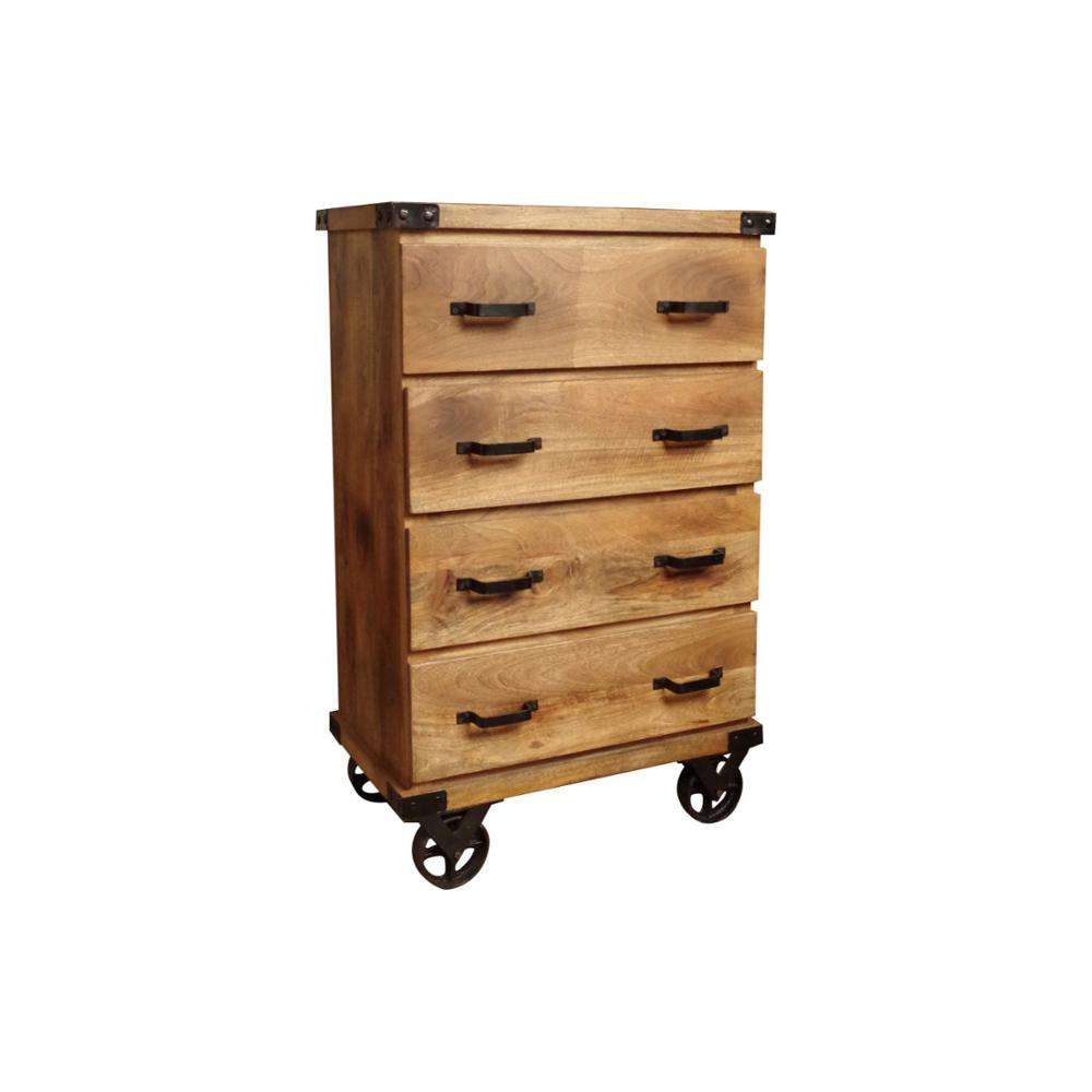 Modern Iron Solid Mango Wood Drawer Chest 4 Drawer With Wheel