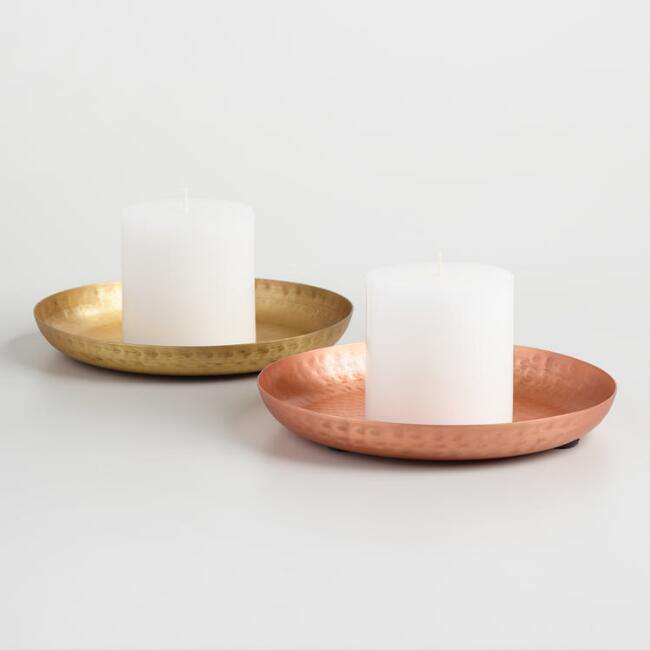 rose gold candle plate