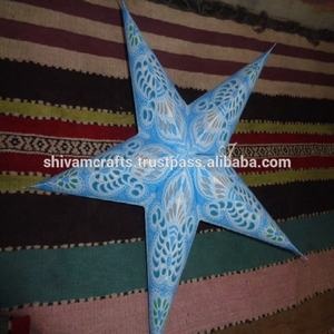 blue paper printed star decorative lamps