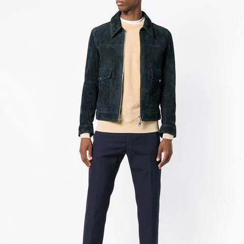 Navy blue goat suede and silk Zipped suede jackets