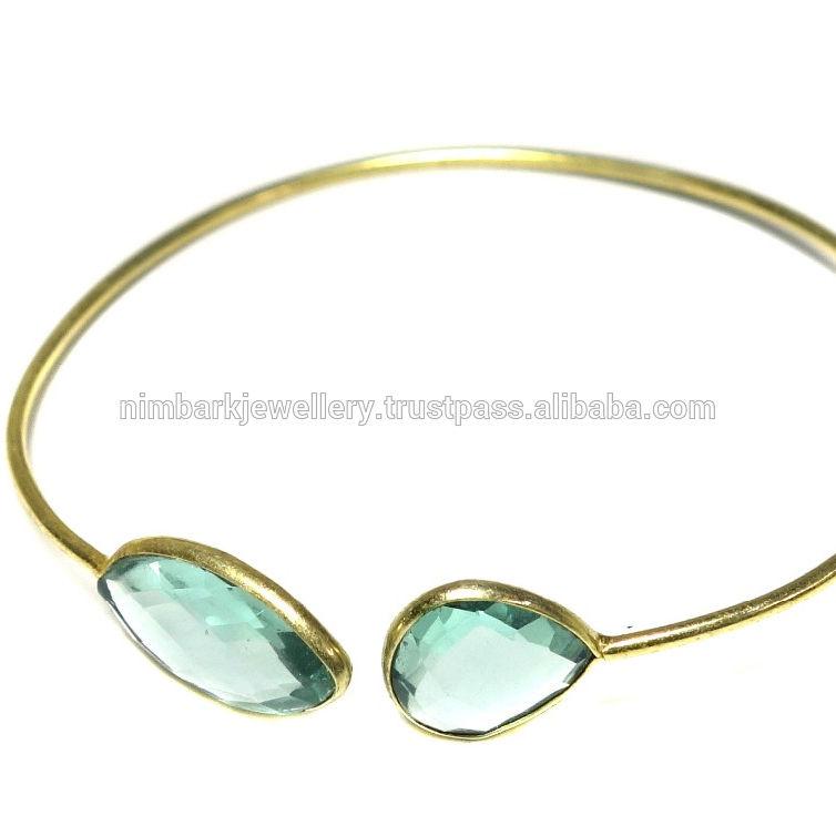 Handcrafted jóia banhado a ouro Pulseira de topázio azul facetado