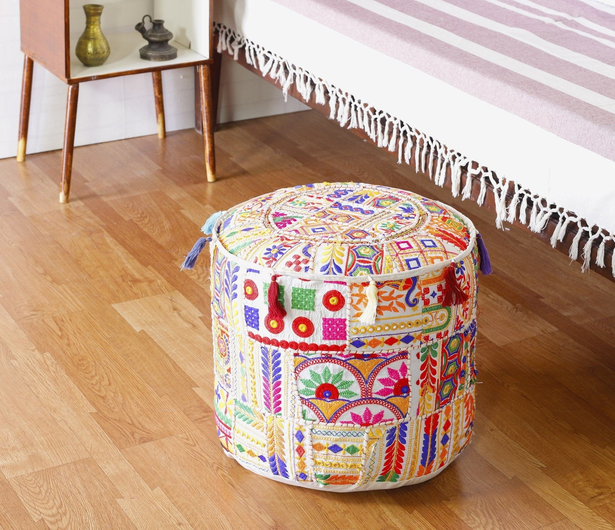 Traditional royal indian patchwork round pouf cover handmade seating ottoman