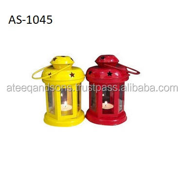 Star Cut Design Red Color iron Metal Lantern