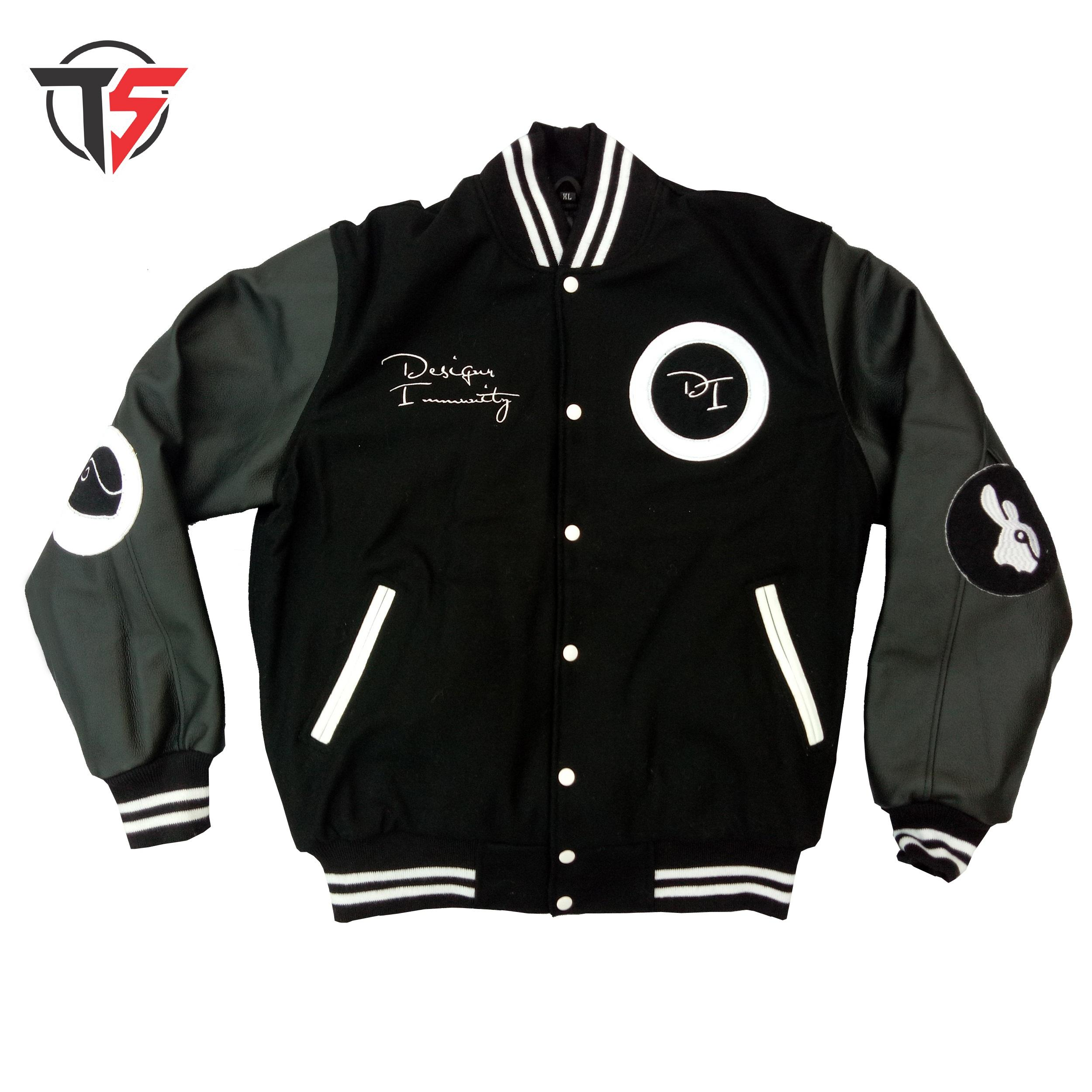 premium quality wool varsity jacket with genuine leather sleeves custom embroidery patches letter jacket