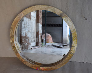 Modern Style Round Bedroom Mango Wooden Furniture Wall Mirror Frame