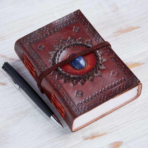 Genuine Leather stone embossed leather journal diary with lock and handmade paper