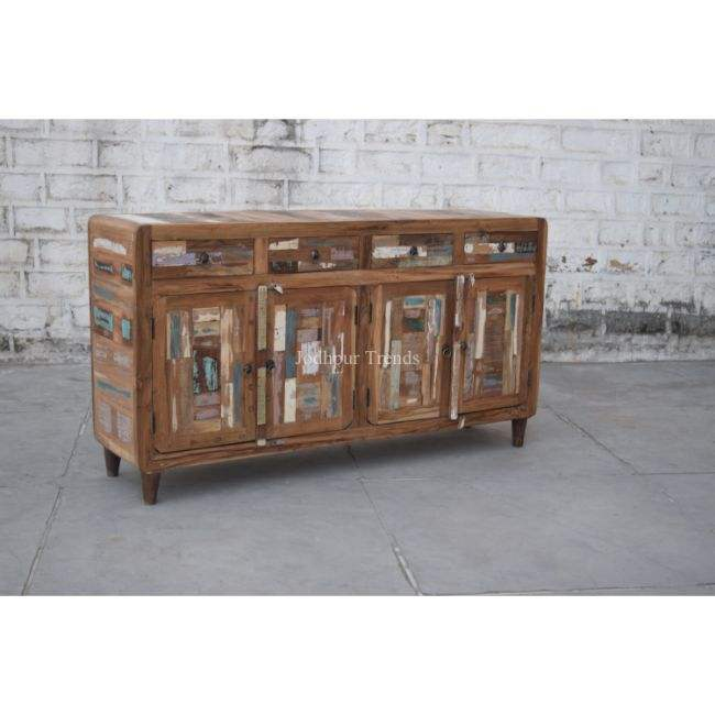 Reclaimed Wood frame 3 Door 3 Drawer Long Living Room Sideboard