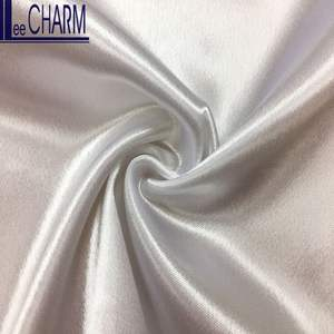 LCL009 Taiwan 96.6 Polyester 3.4 Spandex White Shiny Liquid Look Satin Fabric Stretch