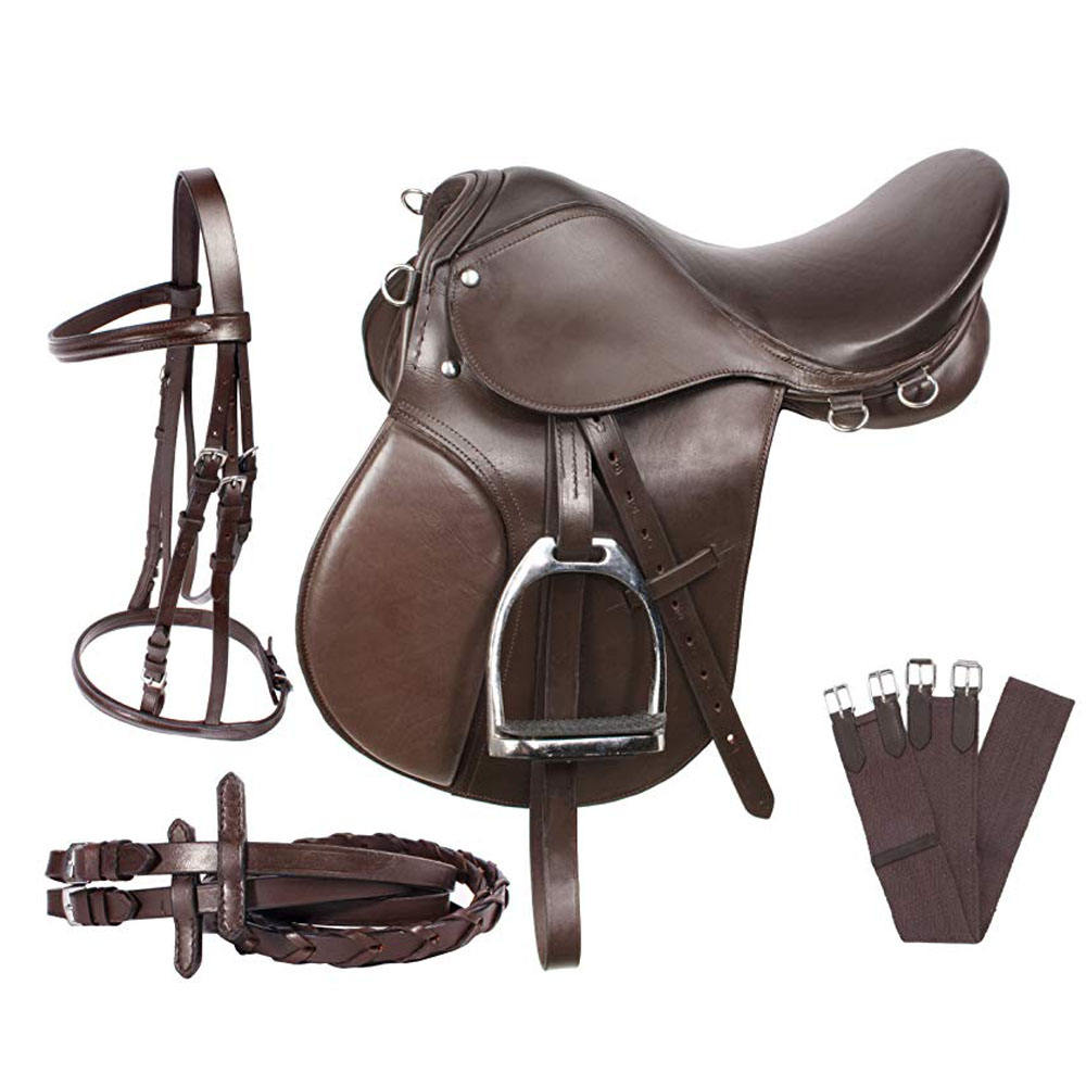 New Top Quality Brown High Quality Genuine Leather All Purpose Horse Riding English Saddle set/kit by Hami Land Sports