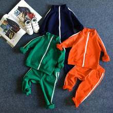 Baby Boys girls sport suits Green Orange 2-8 Years Kids Stripe Jacket + Pants PCs for kids clothes tracksuit Sets
