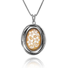 HOT 925 Sterling Silver Beaded Oval Vintage Style Cameo Design Pendant Necklace for Women - Handcrafted Finish by Paz Creations