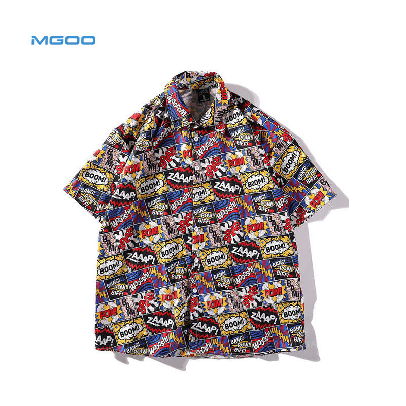 MGOO OEM Hip-hop style Short Sleeve Cotton Spandex All Over Printing Causal Men Shirts