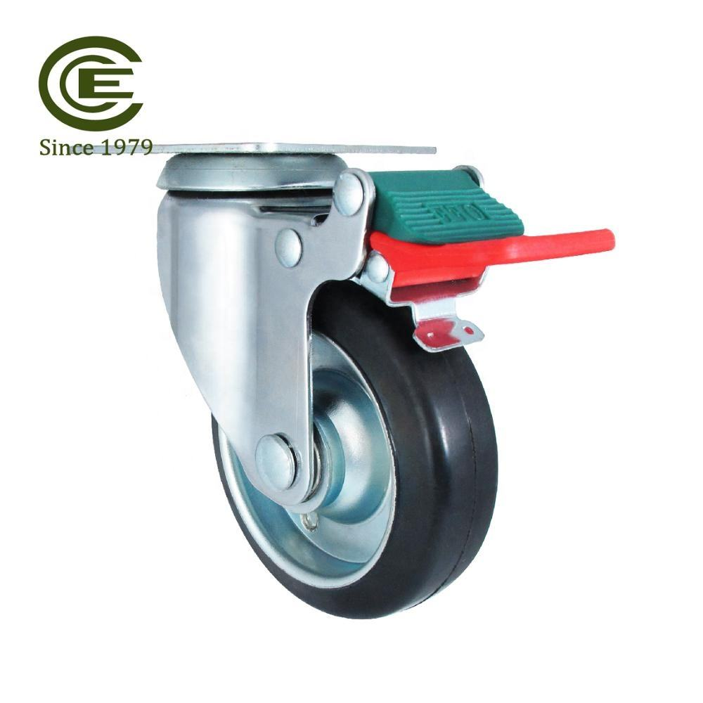 CCE Caster 4 Inch Wheels Soft Rubber Casters With Cast Iron Core