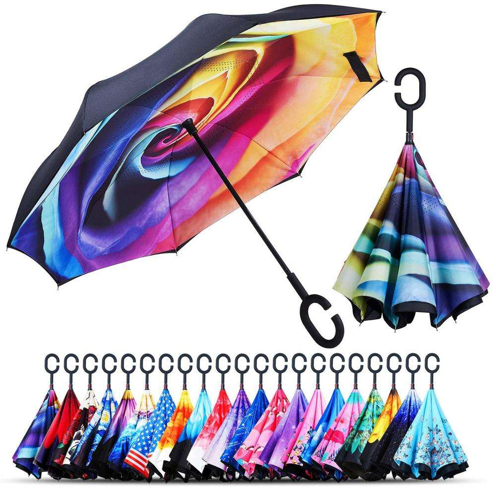"Wholesale Custom C Handle Reverse Umbrella for keep out wind and rain,49"" Arc"