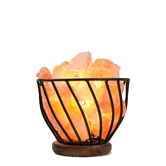 Dimmable Basket Himalayan Wrought Iron Baskets With Chunks, CRYSTAL DECOR Natural Himalayan Salt Lamp with Salt Chunks