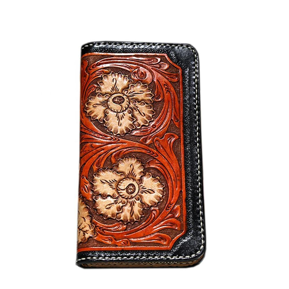 High-ed Custom Western Tan Rodeo Tooled Pure Leather Wallet with Floral Rose Engraving