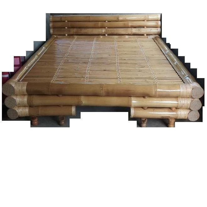 Wholesale 100% Natural King Size Lightweight Handicraft Bamboo Bed Elegant Style Mid-Century Bamboo Bed For House Resorts