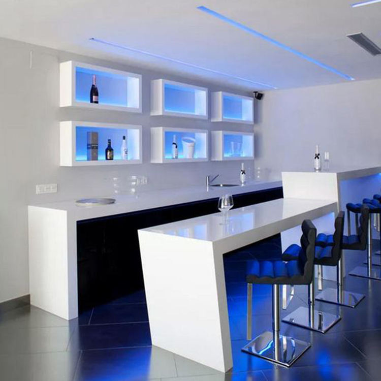 LED Bar Counter Nightclub Artificial stone Creative Bar Counter Modern White bar furniture manufacturers