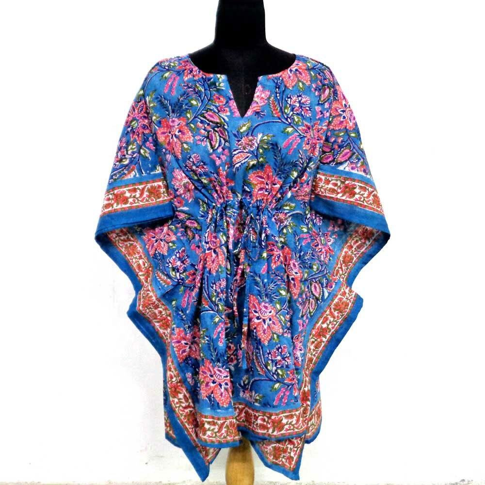 Hand block printed unique beach dress free size lady string cotton short kaftan