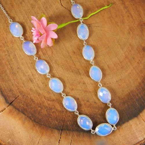 925 sterling silver opalite hydro 22 Inch long chain necklace jewelry