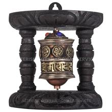 Mantra carved with Astamangala Signs Prayer Wheel - Buddhist Prayer Wheel for decoration at homes and offices- Made in Nepal