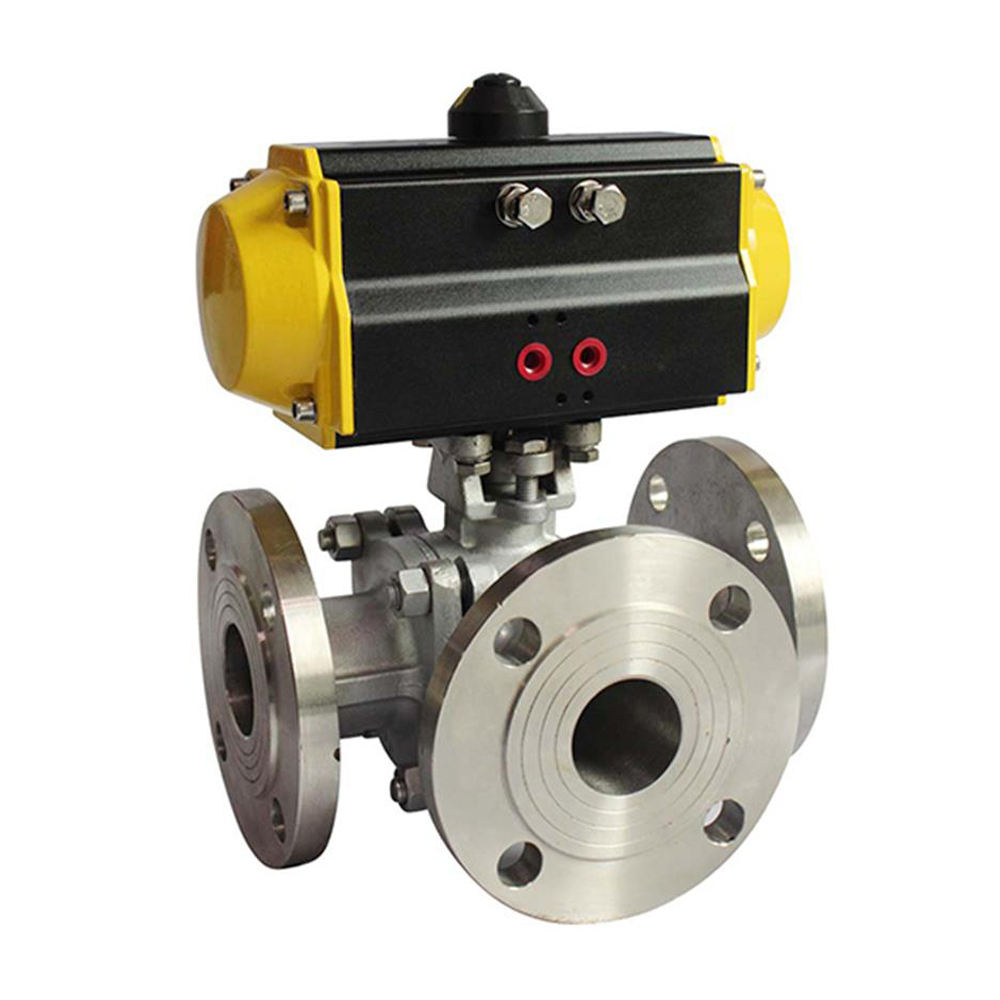 Covna DN150 6 Inch 3 WAY Double Flanged Stainless Steel Ball Valve dengan Aktuator Pneumatik