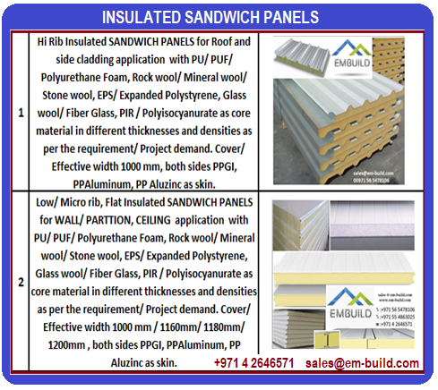 DCL Product Confirmity and DCD/ Civil Defense approved sandwich panels + 971 56 5478106 Dubai