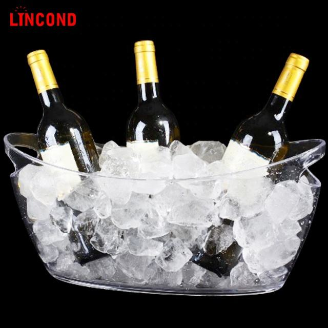 Lincond New Design Wholesale Custom Acrylic Beer Wine Can Cooler Plastic Ice Bucket