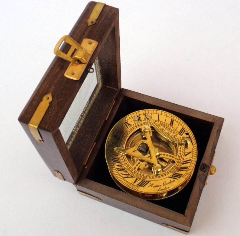 Nautical brass sundial navigation clock compass 3 inches with wooden box