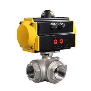 COVNA 2 inch 3 Way T Port NPT Threaded CF8M Stainless Steel Pneumatic Actuated Ball Valve