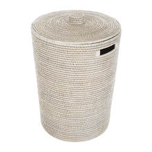 Home and office article handmade round rattan waste basket with lid, ratan wicker basket