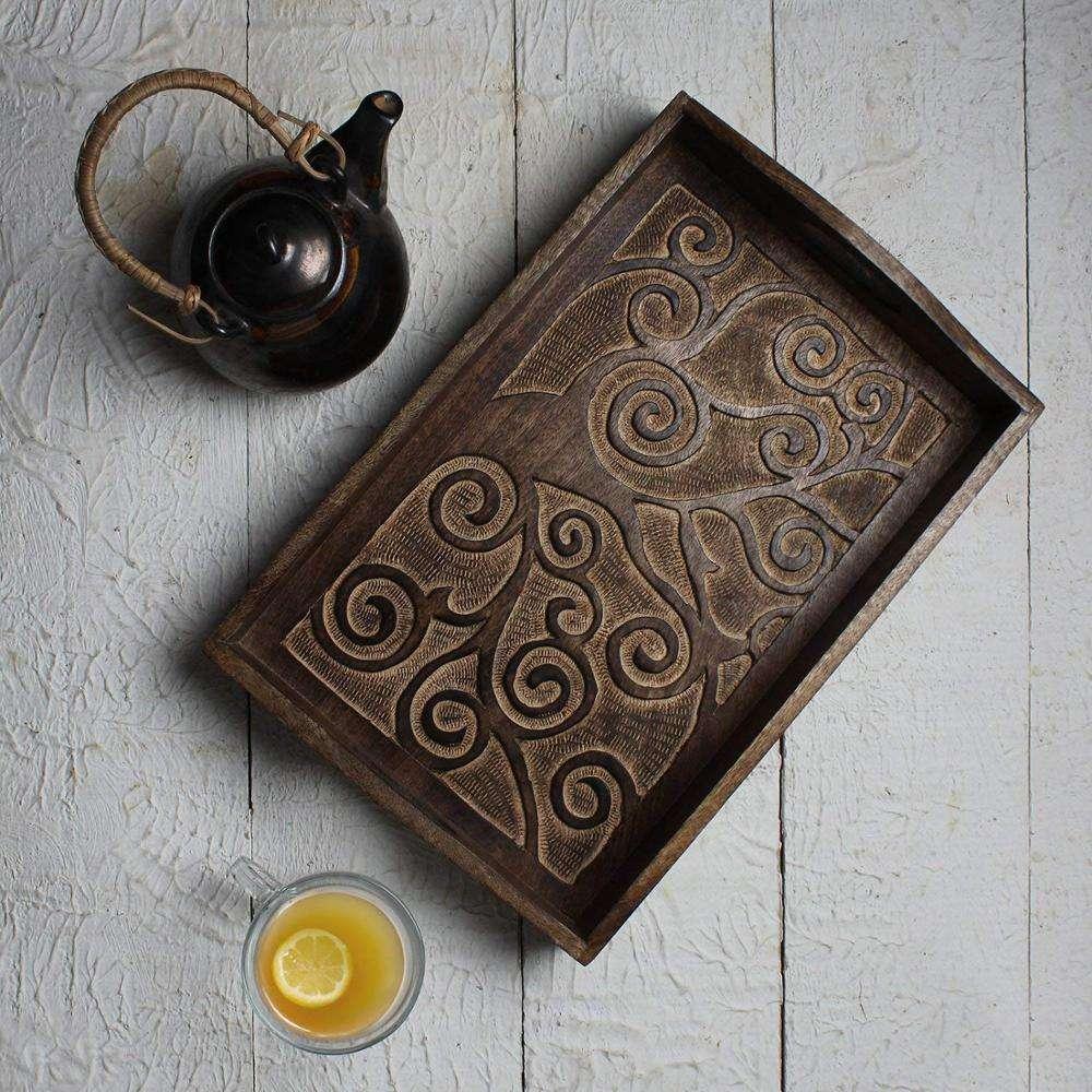手作り固体マンゴーの木トレイ刻ま生活の木デザインユーズド加工アンティーク外観トレイ
