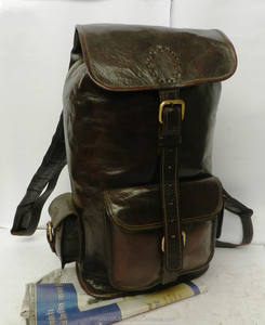 Genuine Leather Hand Made Brown Leather rucksack backpack travel bag's