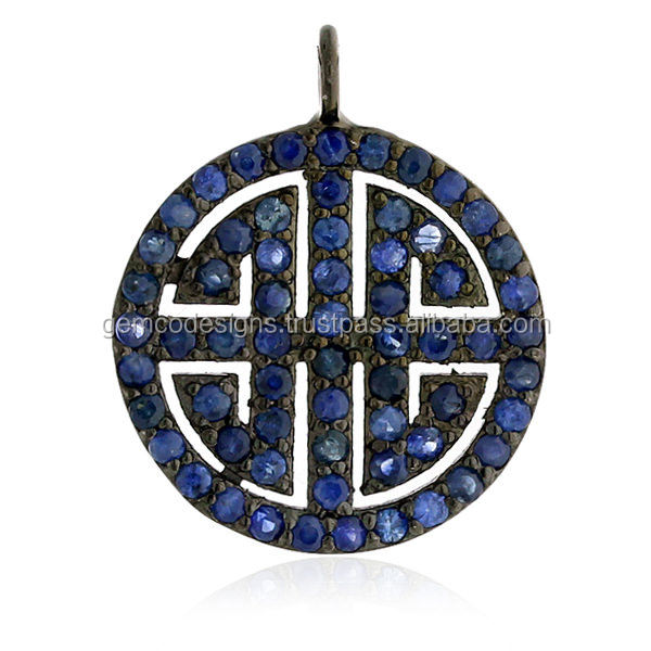 Blue Sapphire Gemstone Chinese Labyrinth 925 Sterling Silver Charm Pendant Jewelry