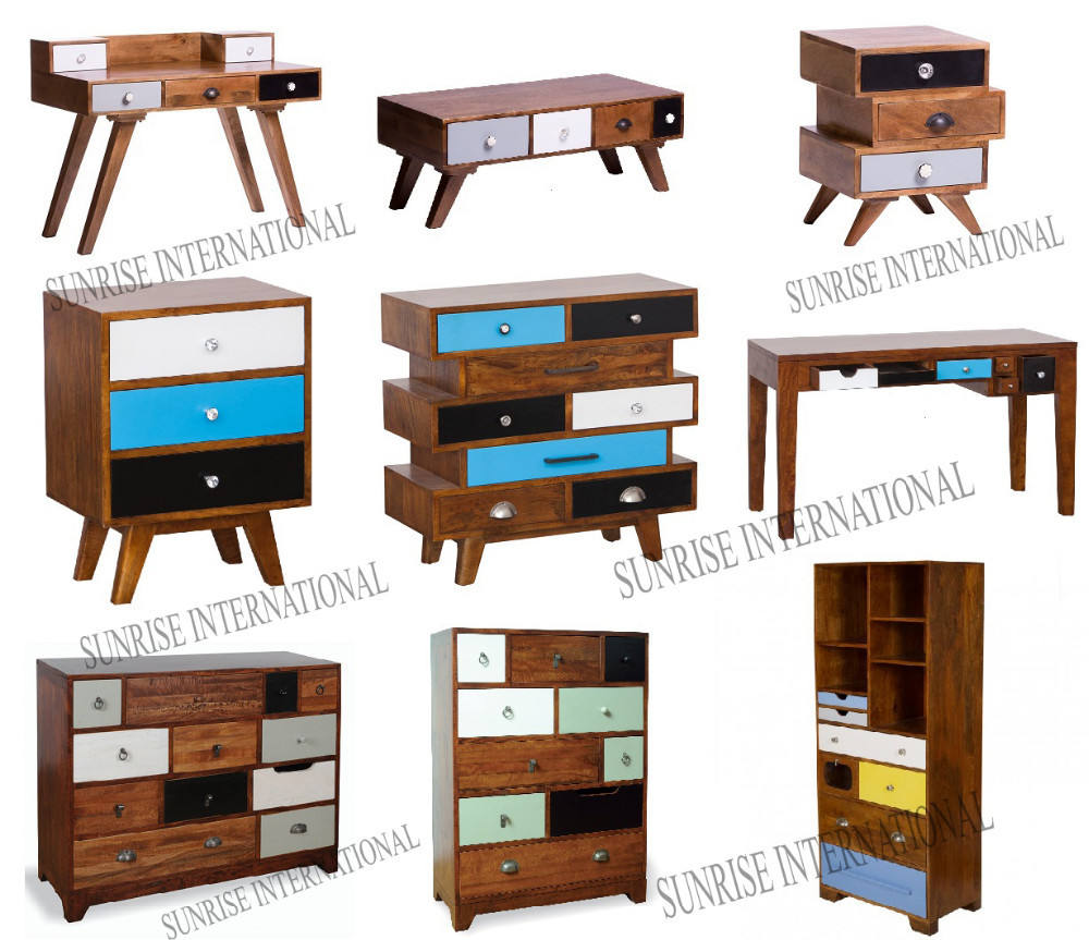 retro style furniture cabinet in mango wood, vintage range furniture