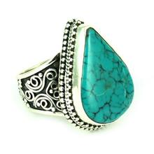 Natural Beauty Rava Work Turquoise 925 Sterling Silver Ring, Silver Jewellery Wholesale, Handmade Silver Jewelry