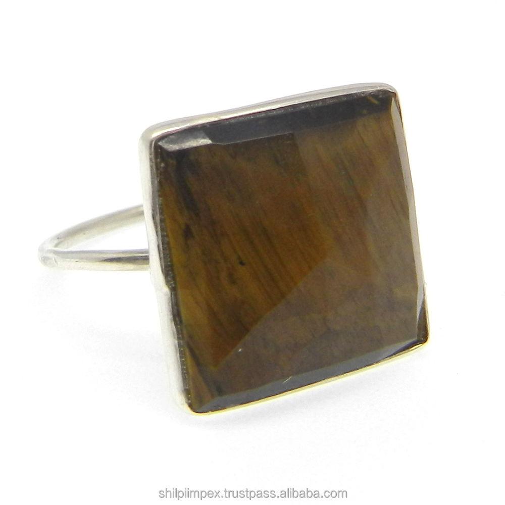 Samirra Ring-Tiger Eye-925 Sterling Silber Edelstein Ring-Lünette Set Ring-SIRG1411