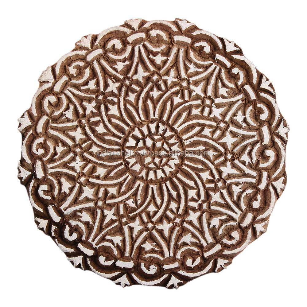 Handmade Floral Wooden Textile Printing Blocks Decorative Art Craft Wooden Blocks For Block Printing
