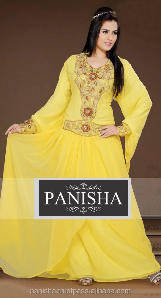 Exquisite Yellow Color Faux Georgette Stylist Kaftan